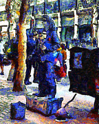 Downtowns Prints - Van Gogh Is Captivated By A San Francisco Street Performer . 7D7246 Print by Wingsdomain Art and Photography