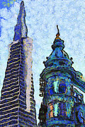 Bay Area Digital Art - Van Gogh Is Mesmerized By The Transamerica Pyramid and The Columbus Tower 7d7433 by Wingsdomain Art and Photography