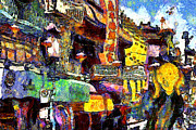 Edvard Munch Posters - Van Gogh Meets Up With The Screamer in San Francisco Chinatown . 7D7174 Poster by Wingsdomain Art and Photography