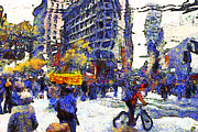 Wall Street Digital Art Prints - Van Gogh Occupies San Francisco . 7D9733 Print by Wingsdomain Art and Photography