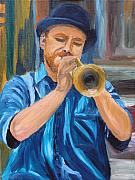 New Orleans Oil Painting Originals - Van Gogh Plays The Trumpet by Michael Lee
