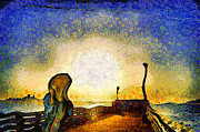 Edvard Munch Posters - Van Gogh Screams On The Berkeley Pier Under a Starry Night . IMG3188 Poster by Wingsdomain Art and Photography