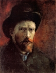 Vincent Van Gogh Prints - Van Gogh Self Portrait Dark Felt Hat Print by Vincent Van Gogh