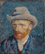 Education Paintings - Van Gogh Self Portrait Grey Felt Hat by Vincent Van Gogh
