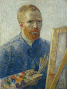 Vincent Van Gogh Posters - Van Gogh Self Portrait in Front of Easel Poster by Vincent Van Gogh