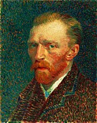 Oil On Cardboard Prints - Van Gogh Self Portrait Print by Pg Reproductions