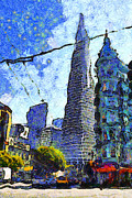 Tower Digital Art - Van Gogh Sips Absinthe And Takes In The Views From North Beach in San Francisco . 7D7431 by Wingsdomain Art and Photography