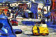 Fishermans Wharf Framed Prints - Van Gogh Tours The Streets of San Francisco 7D14100 Framed Print by Wingsdomain Art and Photography