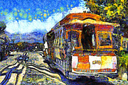 Streetcar Digital Art - Van Gogh Vacations In San Francisco 7D14099 by Wingsdomain Art and Photography