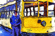 Old Street Digital Art - Van Gogh Visits The Cablecar Motorman of San Jose California . 7D12868 by Wingsdomain Art and Photography