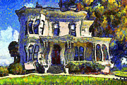 Vintage Houses Prints - Van Gogh Visits The Old Victorian Camron-Stanford House in Oakland California . 7D13440 Print by Wingsdomain Art and Photography