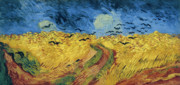 Vincent Van Gogh Posters - Van Gogh Wheatfield with Crows Poster by Vincent Van Gogh