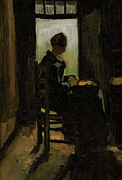 Education Paintings - Van Gogh Woman Peeling Potato by Vincent Van Gogh