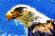 Eagle Digital Art Posters - Van Gogh.s American Eagle Under A Starry Night . 40D6715 Poster by Wingsdomain Art and Photography
