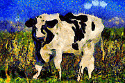 Bulls Digital Art Prints - Van Gogh.s Big Bull . 7D12437 Print by Wingsdomain Art and Photography