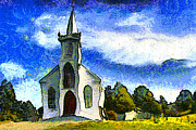 Back Road Digital Art Prints - Van Gogh.s Church On The Hill 7D12437 Print by Wingsdomain Art and Photography