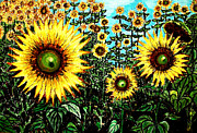 Van Pastels Prints - Van Goghs Field of Sunflowers Print by Aisa  Mijeno