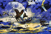 Goose Digital Art Posters - Van Gogh.s Flying Pig 2 Poster by Wingsdomain Art and Photography