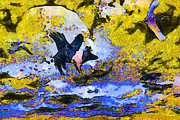 Goose Digital Art Posters - Van Gogh.s Flying Pig 3 Poster by Wingsdomain Art and Photography