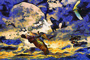 Pig Posters - Van Gogh.s Flying Pig Poster by Wingsdomain Art and Photography