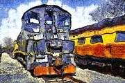 Train Art - Van Gogh.s Locomotive . 7D11588 by Wingsdomain Art and Photography