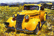 Vintage Hood Ornament Digital Art Metal Prints - Van Gogh.s Old Ride 7d15315 Metal Print by Wingsdomain Art and Photography