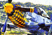 P-51 Art - Van Gogh.s P-51 Mustang Fighter Plane . 7D15598 by Wingsdomain Art and Photography
