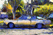 Transportation Digital Art Framed Prints - Van Gogh.s Plymouth Barracuda in Suburbia . 7D12724 Framed Print by Wingsdomain Art and Photography