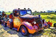 Old Trucks Digital Art - Van Gogh.s Rusty Old Jalopy . 7D15500 by Wingsdomain Art and Photography