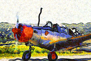 War Birds Framed Prints - Van Gogh.s Single Engine Propeller Airplane 7d15754 Framed Print by Wingsdomain Art and Photography