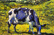 Farm Animals Digital Art Posters - Van Gogh.s Starry Blue Cow . 7D16140 Poster by Wingsdomain Art and Photography