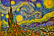 Post-impressionist Art - Van Goghs Starry Night - HDR by Randy Aveille