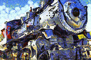 Steam Locomotives Digital Art Posters - Van Gogh.s Steam Locomotive . 7D12980 Poster by Wingsdomain Art and Photography