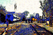 Train Art - Van Gogh.s Train Depot . 7D11636 by Wingsdomain Art and Photography