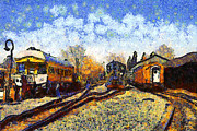 Train Digital Art Posters - Van Gogh.s Train Station 7D11513 Poster by Wingsdomain Art and Photography