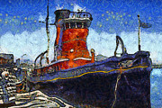 Steamboat Digital Art Prints - Van Gogh.s Tugboat . 7D14141 Print by Wingsdomain Art and Photography