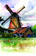 John Benson Paintings - Van Gough Windmill by John D Benson