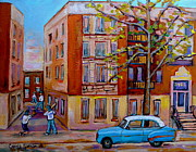 Baseball Game Paintings - Van Horne Boulevard Montreal Street Scene by Carole Spandau