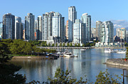 Urbanization Posters - Vancouver BC south waterfront skyline sailboats. Poster by Gino Rigucci