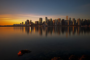 Burrard Inlet Metal Prints - Vancouver Golden Sunrise Metal Print by Jorge Ligason