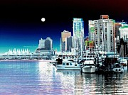 Centre Digital Art Prints - Vancouver Harbor Moonrise  Print by Will Borden