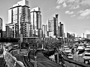 North Vancouver Framed Prints - Vancouver Harbour BW Framed Print by Kamil Swiatek