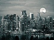 Building Exterior Photo Posters - Vancouver Moonrise Poster by Lloyd K. Barnes Photography
