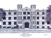 University Campus Drawings Originals - Vanderbilt-Furman Hall by Frederic Kohli