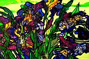 Masterpiece Mixed Media Prints - VanGogh Iris Montage in Focus Print by Laura  Grisham