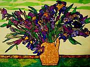 Masterpiece Mixed Media Prints - VanGogh Iris Montage Print by Laura  Grisham