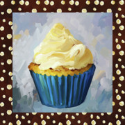 Baking Painting Posters - Vanilla Cupcake With Border Poster by Jai Johnson