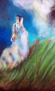 Wolf Howling Paintings - Vanishing Grey Wolf 3 Wanted Alive by Marjorie Lynne Wagner