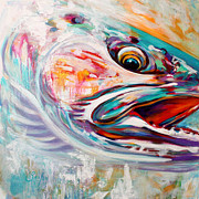 Flyfishing Painting Originals - Vanishing Native - Steelhead Trout Flyfishing Art by Mike Savlen