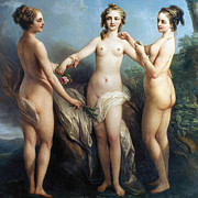 Goddess Mythology Paintings - Vanloo: Three Graces by Granger